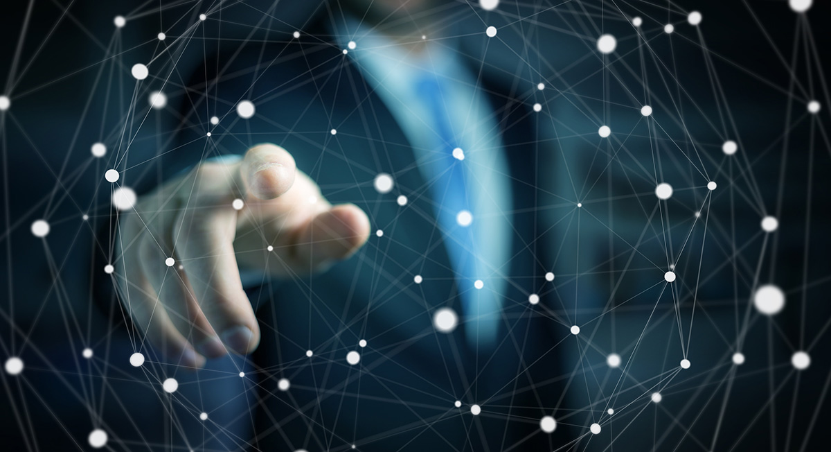 Businessman touching floating dot network 3D rendering